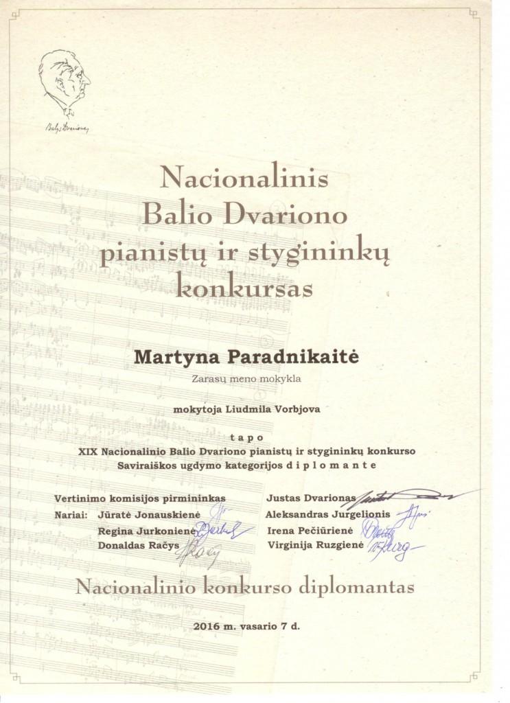 M.Paradnikaite (Dvariono diplomante)